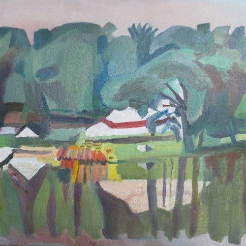 Oil on canvas painting of a campsite by the lake by Martha Lindsay