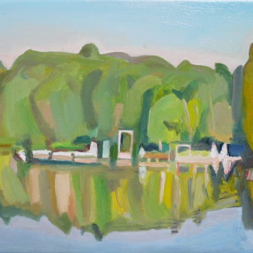 Oil on canvas painting showing distant buildings by a lake on Mt. Gretna by Martha Armstrong