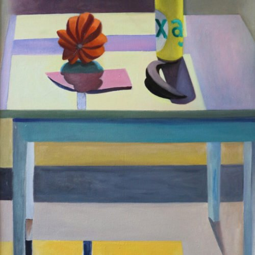 Oil on canvas painting of a table illuminated by light coming through a nearby window by Martha Armstrong