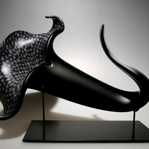 2. David Patchen. Black Bloom with White Threads (1900). Blown and hot-sculptued glass_ murrine. 23 x 18 x 10. $11_500