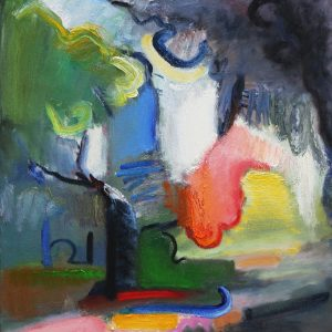 Oil on canvas painting by Daniel Bayless showing an artistic view of a tree after the rain