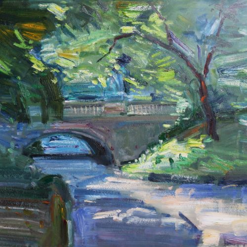 Oil on paper painting of a bridge in Central Park over a relaxing stream by Daniel Bayless