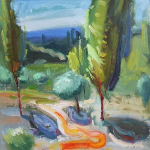 Oil on paper painting of Kenwood Valley by Daniel Bayless
