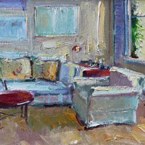 Oil on canvas painting of a living room receiving the light of morning by Daniel Bayless