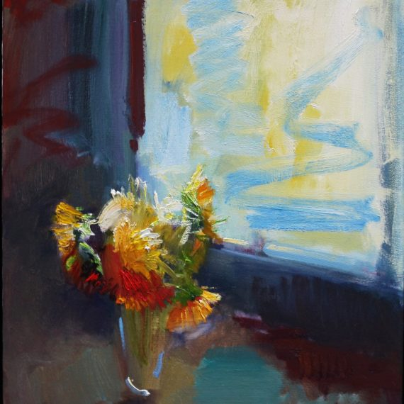 Oil on canvas painting of a vase of flowers sitting beside a window by Daniel Bayless