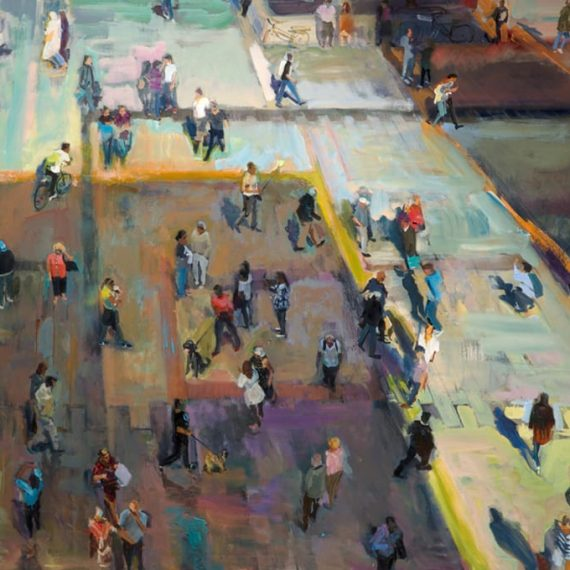 Acrylic on canvas painting of a crowd in Munich by Grant Drumheller