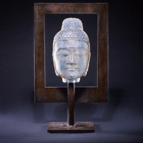 Marlene Rose. Egyptian Blue Buddha in Frame. Sand cast glass with steel frame. 24 x 14 x 6 $6_750