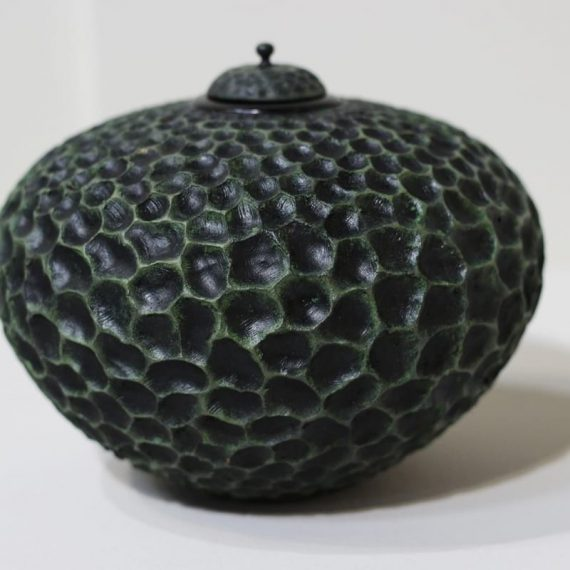 Hammered Wood Vessel with lid