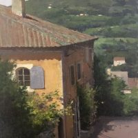 Donald Demers, La Maison Jaune, 2017, Oil on Linen, 12x9