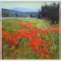 Valerie Craig, Poppy Series, Triptych, Oil on Linen