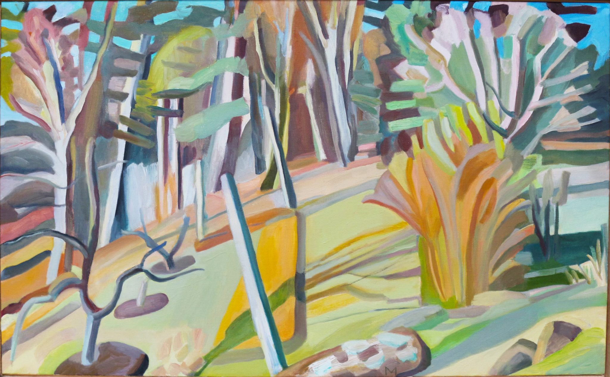 Oil on canvas painting of an artistic representation of a nearby forest by Martha Armstrong