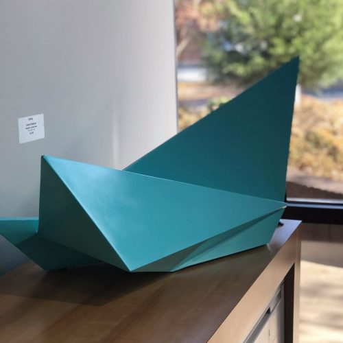 Aqua maquette on painted steel sculpture by Edward Belbusti