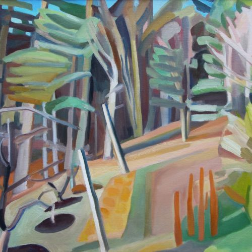 Oil on canvas painting of a forest by Martha Armstrong