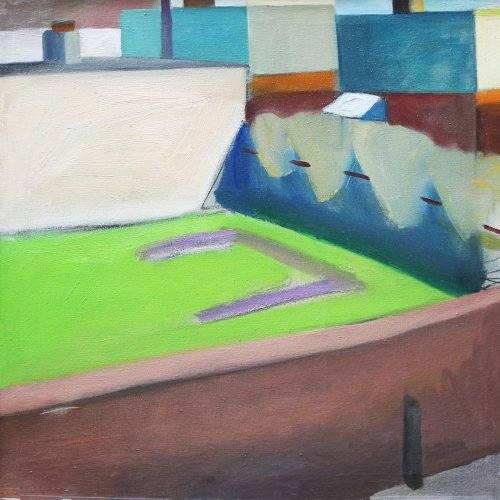 Oil on canvas painting of a courtyard by Martha Armstrong