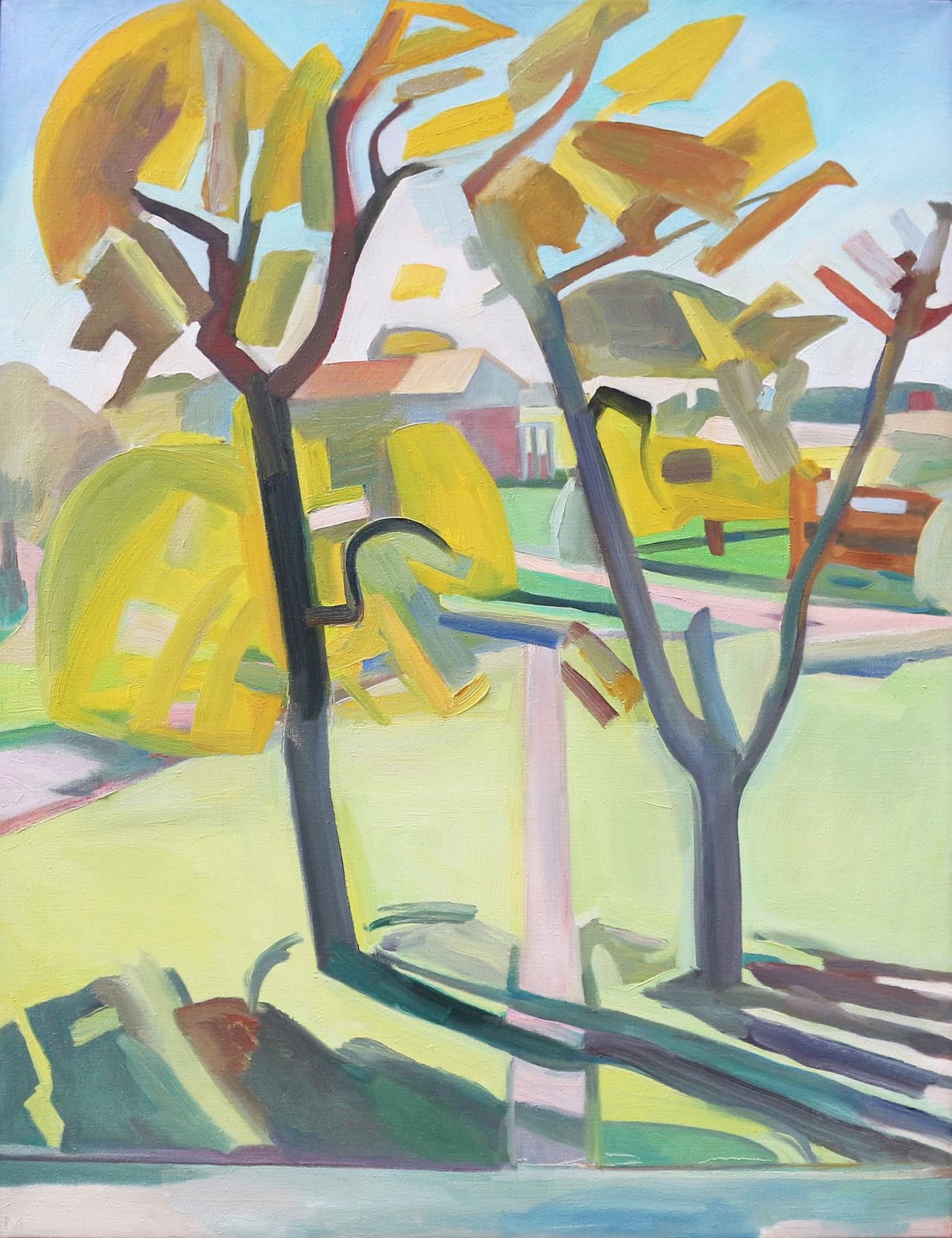 Oil on canvas painting showing a pair of trees near a community by Martha Armstrong