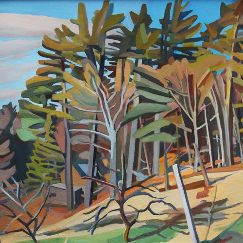 Oil on canvas painting of a farm situated near a forest by Martha Armstrong