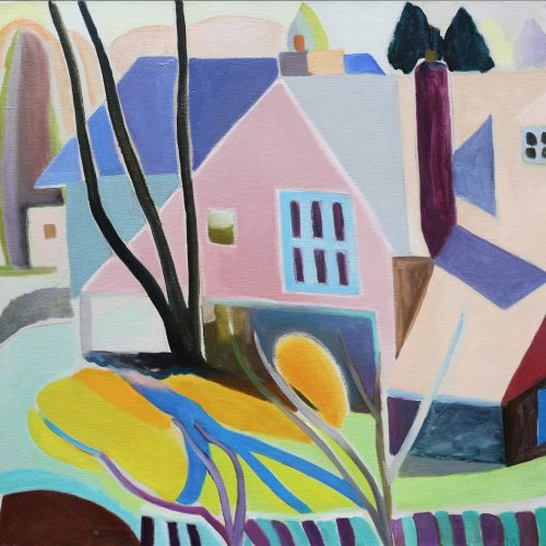 Oil on canvas painting of a house in Haverford by Martha Armstrong
