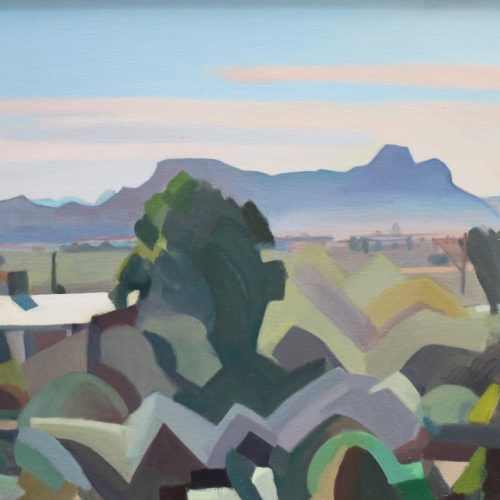 Oil on canvas painting of Sombrero Peak by Martha Lindsay