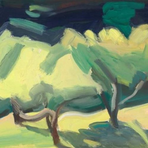 Oil on Canvas painting of three trees by Martha Armstrong