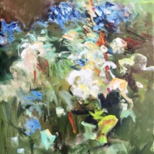 Oil on paper painting of a bushel of wild flowers by Daniel Bayless