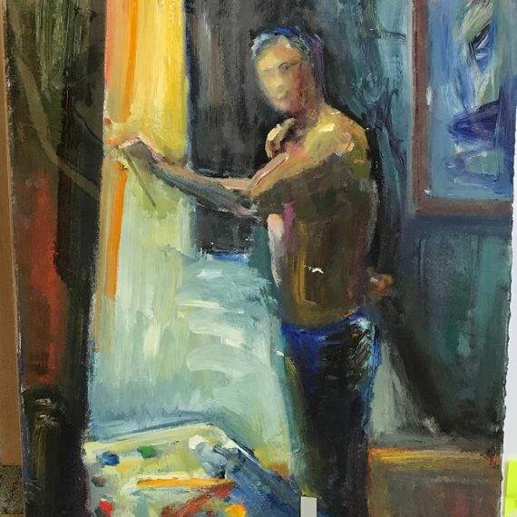 Oil on paper self portrait painting by Daniel Bayless