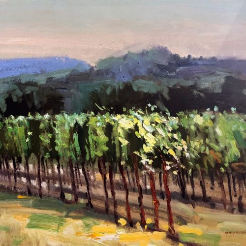 Oil on paper painting of trees planted in a row at dusk by Daniel Bayless