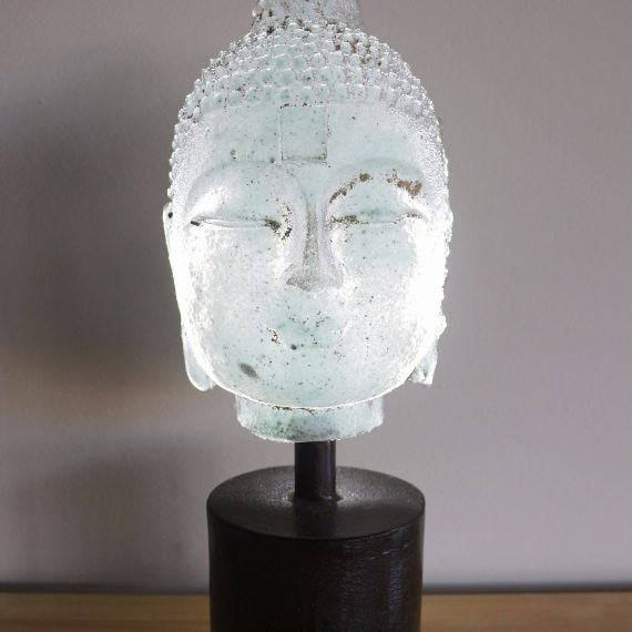 Sand cast glass and metal base Bookshelf Buddha in Celadon by Marlene Rose