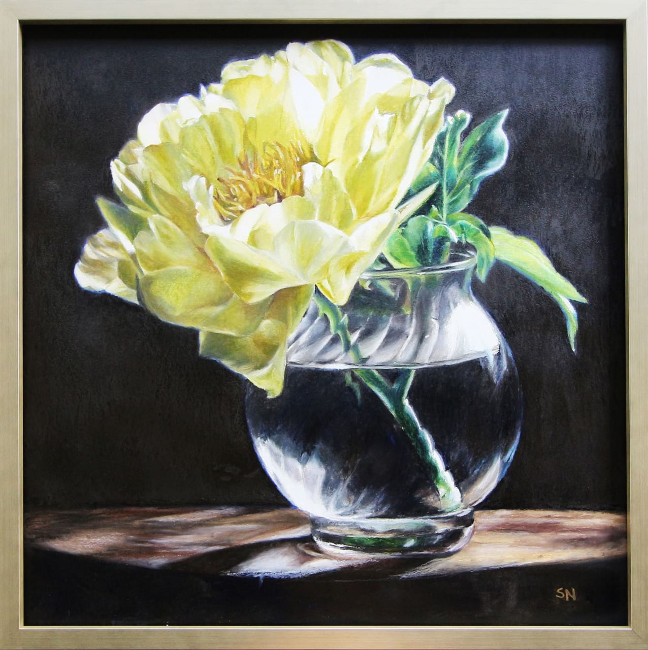 Oil pastel on watercolor paper painting of a Golden Peony illuminated by light by Stephanie Neely