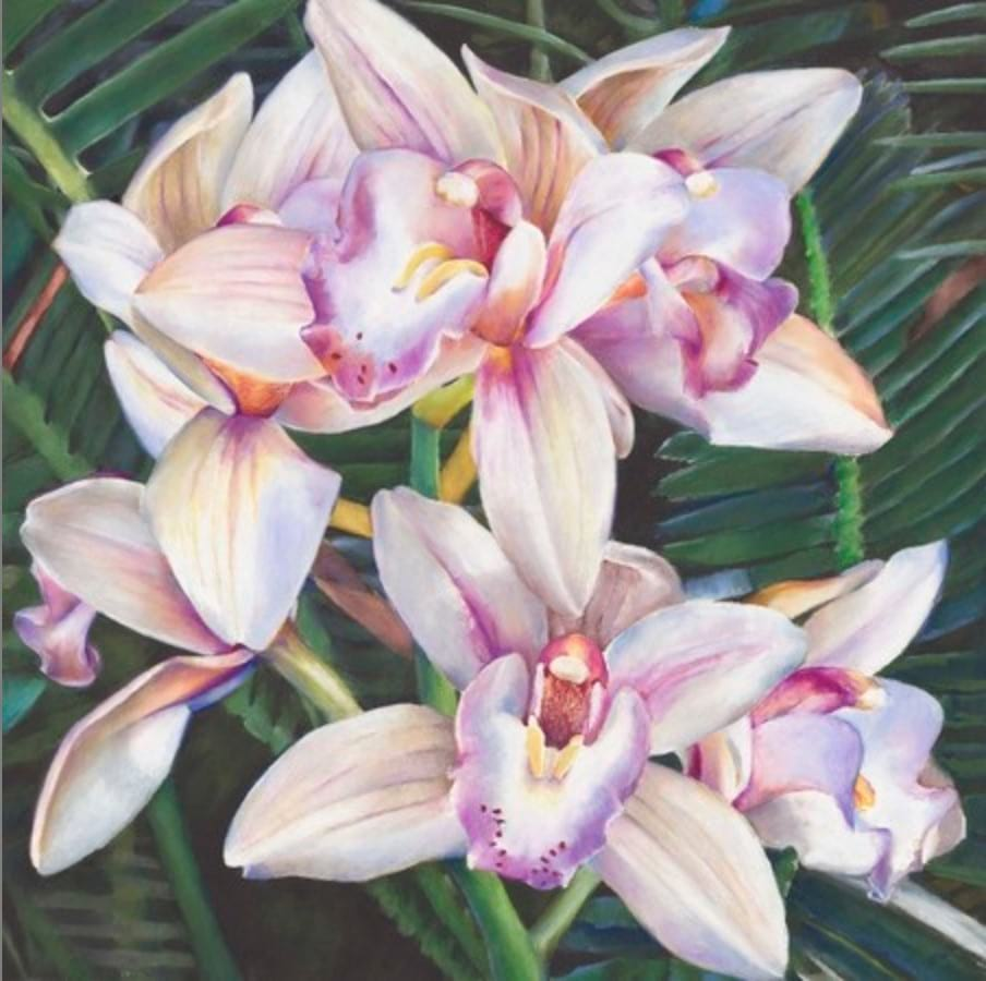 Wax pastel on paper painting of Iris flowers in bloom by Stephanie Neely
