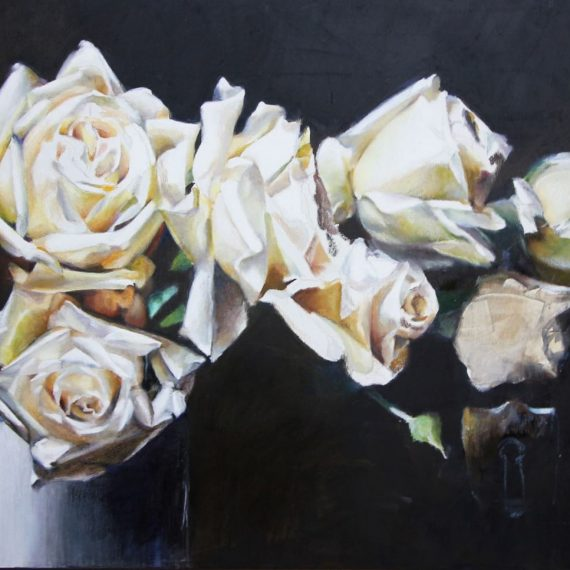 Oil pastel on canvas painting of white flowers by Stephanie Neely
