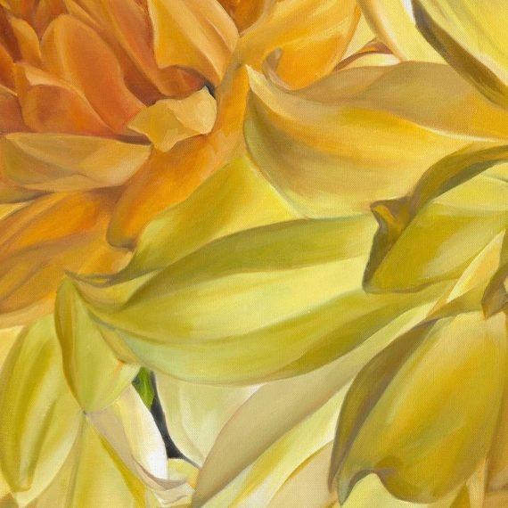 Oil on canvas painting of Dahlias in Autumn by Stephanie Neely