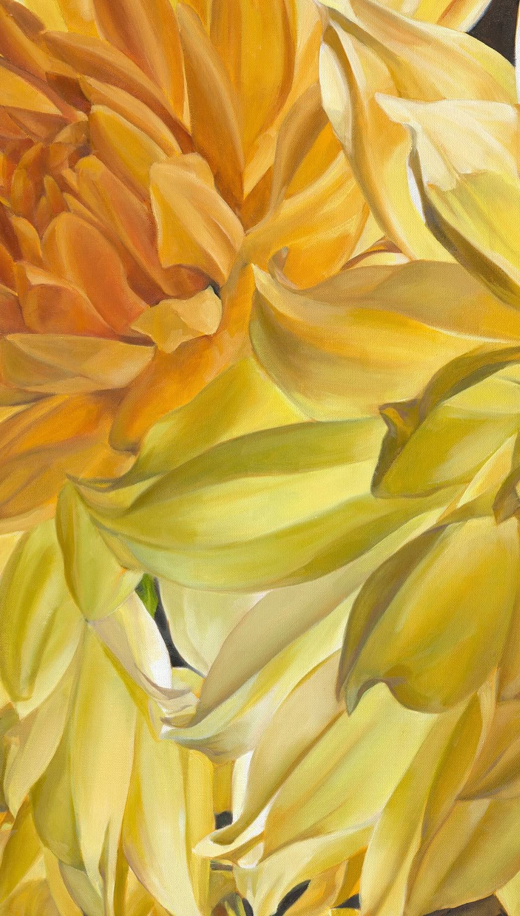 Oil on canvas painting of Dahlias in Autumn by Stephanie Neely