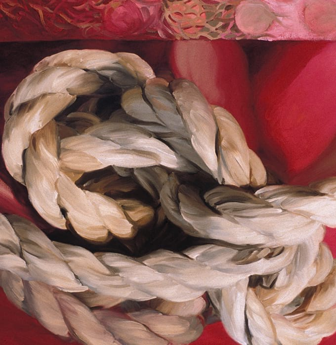 Oil on canvas Untitled (rope #6: pink) by Susan Brenner