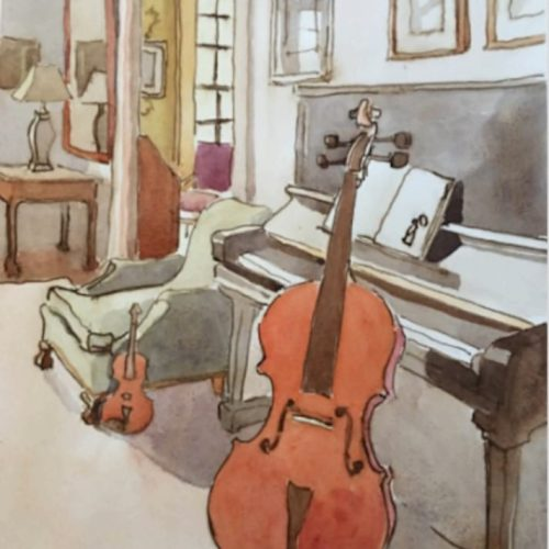 Watercolor on paper of A Trio by Kathryn Keller