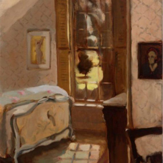 Oil on canvas of Attic Bedroom by Kathryn Keller