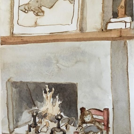 Watercolor on paper of Fire by Kathryn Keller
