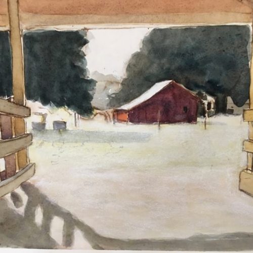 Watercolor on paper Inglewood by Kathryn Keller