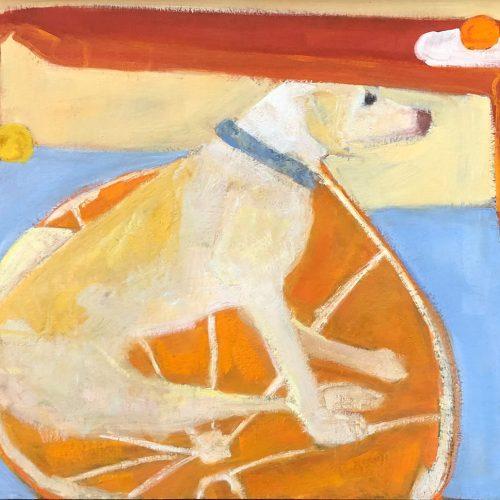 Oil on panel Dog on Orange Rug by Kathleen Craig