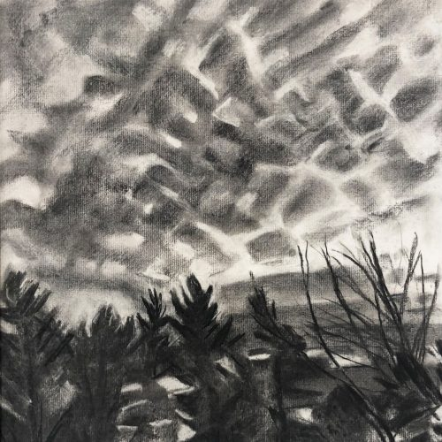 Charcoal on paper Cloud Packages by Martha Armstrong