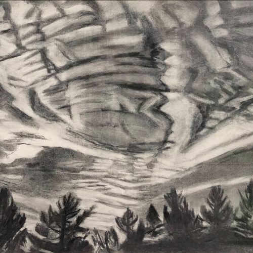 Charcoal on paper Clouds Breaking Up Charcoal on paper by Martha Armstrong