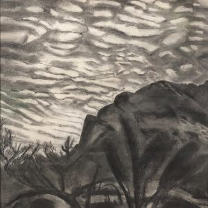 Charcoal on paper Clouds Climbing Over Mountains by Martha Armstrong