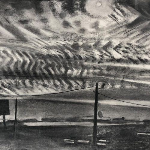 Charcoal on paper Mackerel Sky by Martha Armstrong