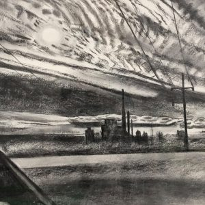 Charcoal on paper Mackerel Sky - Morning Sun by Martha Armstrong