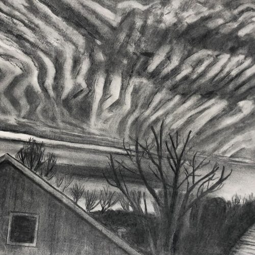Charcoal on paper Striped Sky by Martha Armstrong