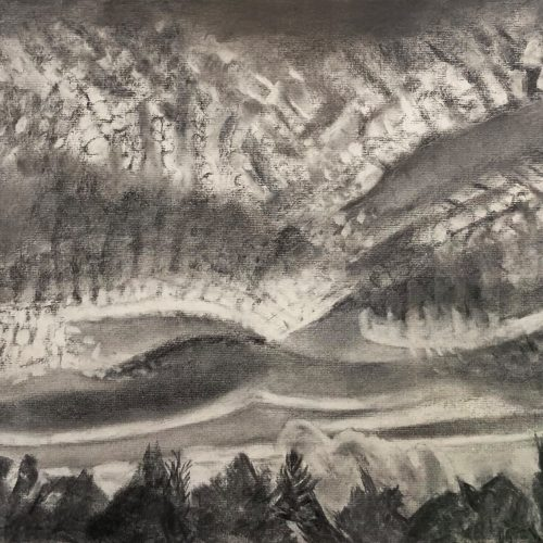 Charcoal on paper Swooping Clouds - Late Sun by Martha Armstrong