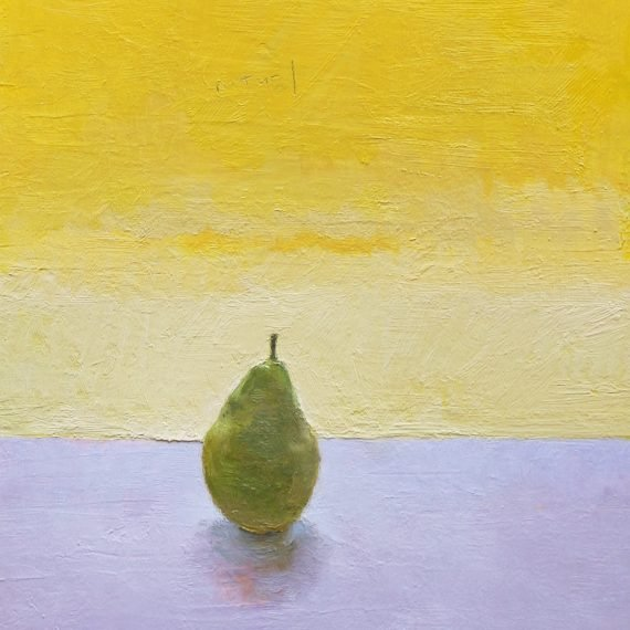 Oil,graphite on paper on board Pear by Greg Siler