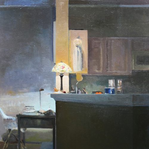 Oil on canvas Two Lamps by Greg Siler