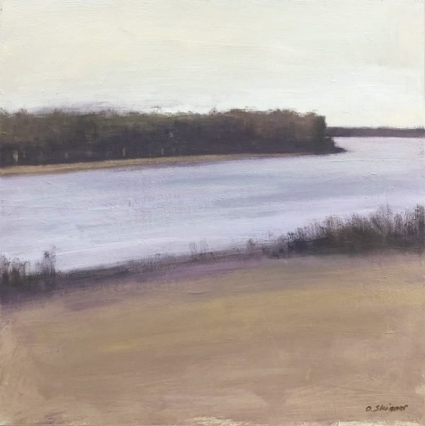 Painting of a riverbank by David Skinner