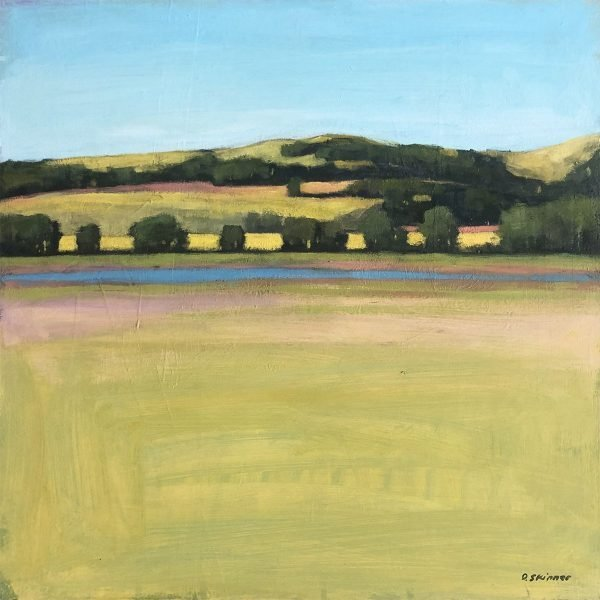 Painting of a field overlooking a river and nearby rolling hills by David Skinner