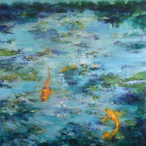 Oil on canvas Fish Dreams I by Jill Jones